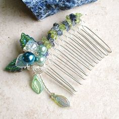 Thyme2dream ~ Fairytale Celtic Wedding Jewelry, Ear Cuffs & Accessories: Mermaid's Water Sapphire Hair Comb