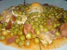 C´est une recette typique portugaise est fait avec du chorizo, du bacon, les pois et les oeufs.
