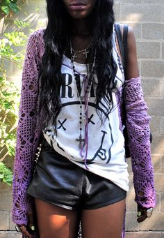 studded leather shorts, a nirvana vest and cute lilac knitwear x