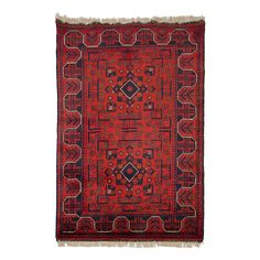 To hang on the wall (Tapis afghan Khal Mohammadi rouge - Pure laine vierge - 130 cm x 200 cm)