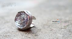 Ring made from chocolate wraps . www.upcycleit.in