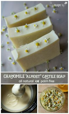 """Chamomile """"Almost"""" Castile Soap Recipe - this simple herbal soap recipe is great for beginner soapmakers! Chamomile """"Almost"""" Castile Soap Recipe - this simple herbal soap recipe is great for beginner soapmakers! Soap Making Recipes, Homemade Soap Recipes, Cold Press Soap Recipes, Castile Soap Recipes, Savon Soap, Soap Making Supplies, Lavender Soap, Soap Packaging, Goat Milk Soap"""