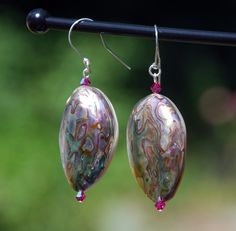 Abalone Shell Sterling Silver Earrings. Handmade Shell and Sterling earrings. Abalone earrings. Shell earrings. Abalone and swarovski beads by KarmaKittyJewelry on Etsy