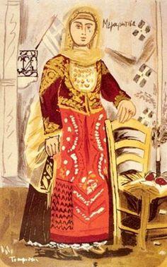 """ΓΙΑΝΝΗΣ ΤΣΑΡΟΥΧΗΣ """"Μεγαρίτισα"""" Greek Traditional Dress, Modern Art, Contemporary Art, Greek Paintings, Costumes Around The World, 10 Picture, Greek Art, Conceptual Art, Fabric Art"""