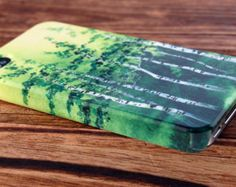 Phone Case iPhone 4/5, Samsung Galaxy s3/s4 - Tranquil Grove - birch trees aspen green watercolor art hardcase cover Canadian Oladesign