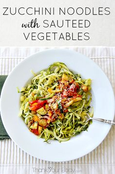 #Zucchini noodles are healthy and delicious! Try them with tender sauteed #vegetables and Asiago cheese. Yum!