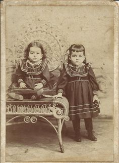 Antique Photo Children Sisters Kids Portrait Image Picture Vintage Photograph