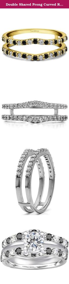 Double Shared Prong Curved Ring Guard with Black And White Cubic Zirconia in Sterling Silver (0.24 ct. twt.). Double Shared Prong Curved Ring Guard. The contour of this ring guard makes it perfectly suited to be the most versatile wedding ring guard. The gentle contour easily allows it to sit against any engagement ring. It has classic a setting style, double shared prong style setting with round stones, which make it the perfect compliment to any engagement ring. We are a made to order…