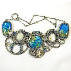 Oceania - A Lampwork and Wire Art Necklace. $1,200.00, via Etsy.