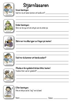 Reading comprehension strategies in practice: The star reader – Prescholl Ideas Teacher Education, School Teacher, Learn Swedish, Swedish Language, Reading Comprehension Strategies, Writing Words, Deep Learning, Classroom Inspiration, Summer School