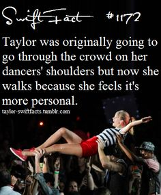 Taylor swift facts she went on the shoulders for my concert...