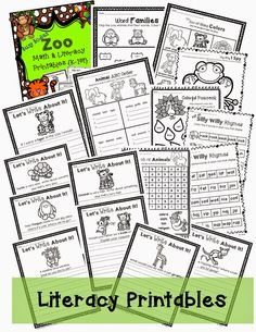 Zoo themed math and literacy print and go! Visit my blog for 2 FREEBIE printables from this pack! http://www.crazycrittercafe.blogspot.com