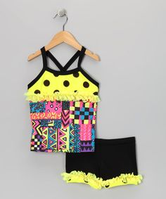 Take a look at this Yellow Polka Dot Ruffle Tank & Shorts - Toddler & Girls by Lexi-Luu Designs on #zulily today!