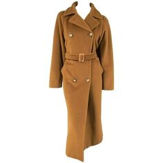 Preowned Max Mara Size 6 Light Brown Virgin Wool/cashmer Top Stitch... ($630) ❤ liked on Polyvore featuring outerwear, coats, brown, long lapel coat, lapel coat, maxmara coat, double breasted coat and wool cashmere coat