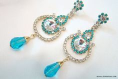 Earrings Dangle Handmade with Blue and Silver Crystals by Store Utsav Fashion #StoreUtsavFashion #Chandelier
