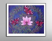 Large Print Butterflies Painting, Red butterflies Landscape, Home and Wall decoration