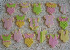 baby shower fondant onesies cookies