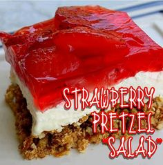 2 cups pretzels (crushed fine) 3 tablespoons brown sugar ¾ cup butter, melted 1 (6 oz) pkg strawberry jello 1 10 oz. pkg. frozen strawberries or small container (16 oz) sliced fresh strawberries 1 ( 8 oz ) pkg cream cheese, softened 1 cup granulated sugar 8 ounces cool whip, thawed  Read more at http://www.the-girl-who-ate-everything.com/2009/07/jello-pretzel-salad.html#xqLdoW5a2z6XzWpL.99
