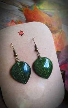 Green Leaf Earrings by TheEarthBelow on Etsy