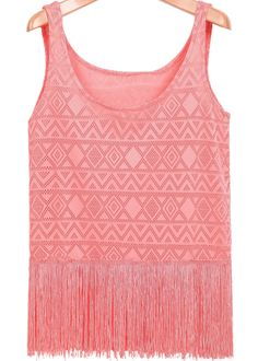Pink Sleeveless Hollow Lace Vest 13.67