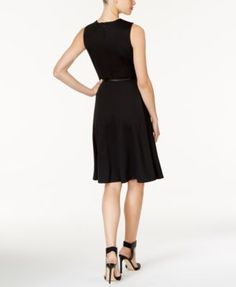 Ny Collection Petite Belted Fit & Flare Dress - Black P/XL