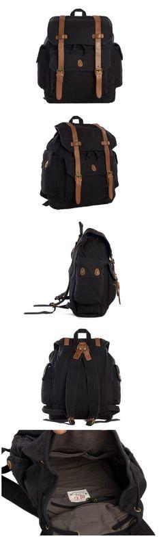 Canvas Leather Backpack, School Backpack Student Backpack Travel Backpack
