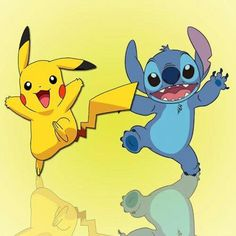 Stitch and Pikachu ^.^ ♡ I give good credit to whoever made this