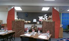 Classroom Decorations- Farm Theme, great ideas for using foam for big props