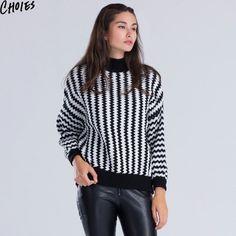 Choies Women Sweater Knitted Black White Chevron Striped High Neck Long Lantern  #Choies #Fashion #Casual