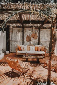 Spell and the gypsy collective - Spell Boutique ~ Cactus Courtyard ~ Byron Bay,. Outdoor Spaces, Outdoor Living, Rustic Gardens, Cafe Design, Furniture Arrangement, Bohemian Decor, Bohemian Patio, Backyard Patio, Pergola