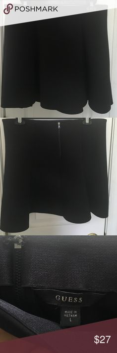 GUESS Neoprene Black Skater Skirt This is the classic black skater skirt that seemed to evade me for so long! It is made of a scuba-like material called Neoprene (lightweight poly/elastane blend) and is cut thick. Elastic waistband inside top of skirt. Zipper and hook closure. Only worn twice. 📦Bundle 3+ items for 15% off📦 GUESS Skirts Circle & Skater