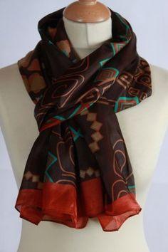 Chèche 100 % soie marron motif abstrait