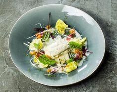 Tarbot met risotto, asperges en een vinaigrette