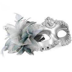 HM Venetian Style Silver Eye Costume Masquerade Mardi Mask