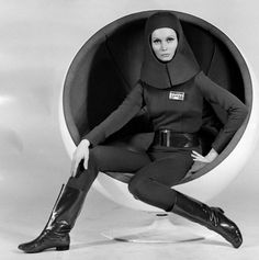 Catherine Schell in the Eero Aarnio Ball Chair in Moon Zero Two (1969)                                                                                                                                                                                 More