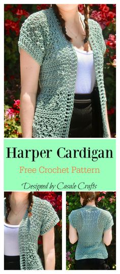 Crochet Blusas Patterns Harper Cardigan Free Crochet Pattern - This Harper Cardigan Free Crochet Pattern uses suzette stitches and very basic shaping to give you a short-sleeved no-button cardigan. Crochet Shrug Pattern Free, Crochet Patterns Free Women, Free Pattern, Black Crochet Dress, Crochet Bodycon Dresses, Mode Crochet, Crochet Top, Cat Crochet, Crochet Dolls