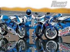 Sampling three flavors of Suzuki and Yoshimura GSX-Rs: a spicy box-stock, scorching SuperSport, and smoking Superbike. Suzuki Gsx R 750, Suzuki Bikes, Retro Motorcycle, Suzuki Motorcycle, Gsxr 1100, Sportbikes, Supersport, Cafe Racer, Cool Bikes