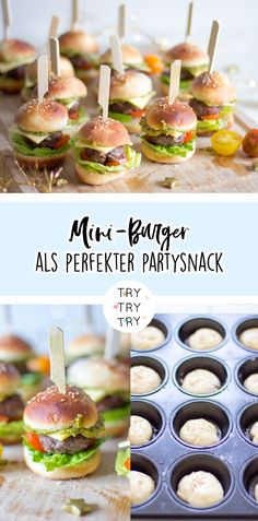 Recipes Snacks Finger Foods Mini burger as a party snack // Party food // Food // Burger for a party // Celebration // Birthday // Children& birthday party // Food for parties Holiday Snacks, Snacks Für Party, Mini Party Foods, Healthy Appetizers, Appetizers For Party, Simple Appetizers, Seafood Appetizers, Cheese Appetizers, Healthy Chicken Recipes