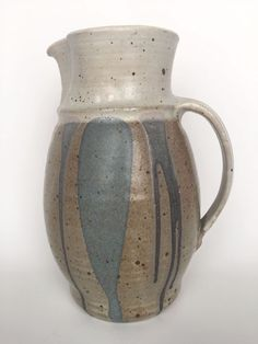 Hand Crafted Studio Artist Signed Tan Gray Pitcher Original Pottery   #Unknown