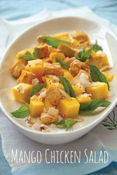 Mango Chicken Salad with Tamarind seasoned with exotic spices and finished with toasted coconut, is a showcase of global flavors. Healthy Salad Recipes, Raw Food Recipes, Chicken Recipes, Chicken Meals, Mango Chicken Salads, Tamarind Recipes, Salad Bar, Toasted Coconut, Healthy Eating