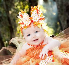 Over-The-Top Candy Corn Glitzy Big Bow Baby Headband - 4398