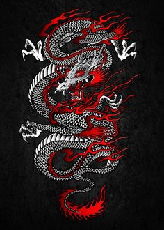Hand-crafted metal posters designed by talented artists. We plant 10 trees for each purchased Displate. chinese dragon tattoo Samurai Katana, Tori Gate and. by Cornel Vlad Japanese Dragon Tattoos, Japanese Tattoo Art, Japanese Tattoo Designs, Japanese Artwork, Japanese Prints, Geisha Tattoos, Irezumi Tattoos, Maori Tattoos, Celtic Tattoos