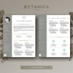 Resume Template & Cover Letter Template for by BotanicaPaperieShop