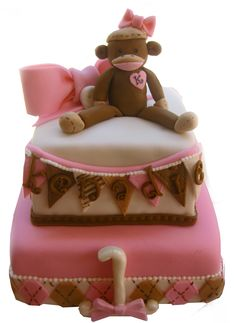 Girl Sock Monkey Cake with Flag Banner and Argyle by The Cake Baketress