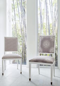 Lauderdale Dining Chair in Bahia Woven woven fabric in Heather Violet. Lauderdale Dining Chair in Minos woven fabric in Heather Violet from Thibaut Fine Furniture