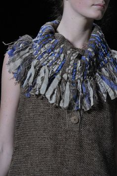 Textiles for Fashion - sweater vest with mixed ribbon knitted collar detail - fabric manipulation; knitwear design // Vanessa Bruno