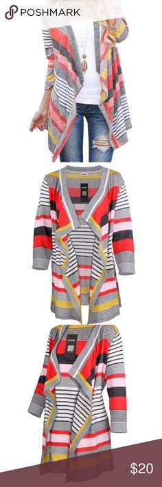 💕3/4 sleeve red striped Aztec cardigan 💕 Women's 3/4 sleeve red striped Aztec open front cable knit cardigan sweater 💯 knitted cardigan. Sweater very soft and comfortable. I recommend to hand or gentle machine wash in cold water. Hang dry. Not a super thick sweater but warm enough great for fall and winter 🍂🌧 Sweaters Cardigans