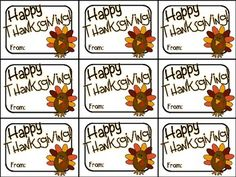 Printable Thanksgiving Gift Tag (Happy Thanksgiving)