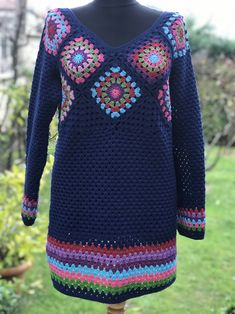 Automatic # alternative # text # is missing. Crochet Cardigan Pattern, Granny Square Crochet Pattern, Crochet Granny, Crochet Patterns, Hippie Crochet, Crochet Art, Crochet Woman, Crochet Summer Dresses, Hippie Dresses