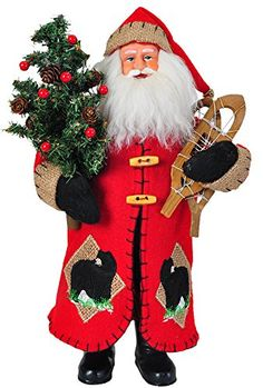 "15"" Rustic Lodge Santa Claus with Tree and Snowshoes Decorative Christmas Figure. #SantaClaus #Santa #Claus #Christmas  #Figurine #Decor #Gift #gosstudio .★ We recommend Gift Shop: http://www.zazzle.com/vintagestylestudio ★"